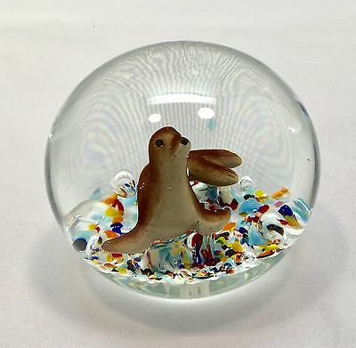 Large  1989 Gibson Glass Seal Sulphide Paperweight