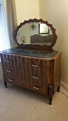 Antique Bedroom Set consisting of:Armoire, Dresser, Dressing Table and Bed Frame
