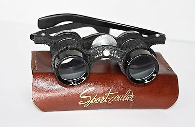 Vintage 1950s Sport-Ocular 3X 25 Binoculars with Leather Case Made in the USA