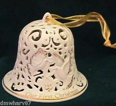 WEDGWOOD Our First Christmas BELL Ornament - UNDATED! White w/Gold Doves, NIB!