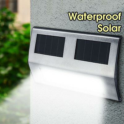 6pack Outdoor Solar Powered LED Garden Stair Step Light Stainless Wall Pathway