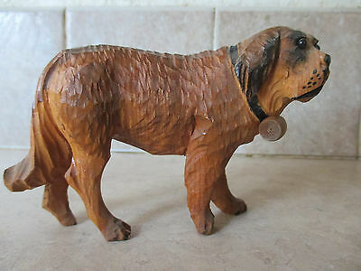 Carved wood Saint St Bernard with barrel, Jobin ?, glass eyes
