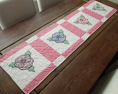 Cottage Home! Vintage 30's Pink & White Applique Pansy Quilt Table Runner 55x14