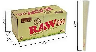 RAW Organic King Size Pure Hemp Pre-Rolled Cones With Filter (800 Pack)