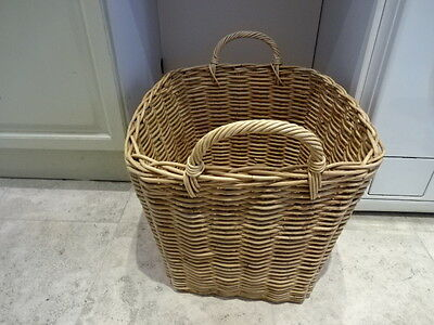 "Rattan Wicker Log Storage Basket with handles 53x46x39"" BOWDON WA14"