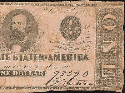 1862 $1 Dollar Bill Confederate States Note Civil War Currency Paper Money T55
