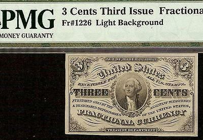 3 THREE CENT NOTE 1864 FRACTIONAL CURRENCY CIVIL WAR ERA MONEY Fr 1226 PMG 58