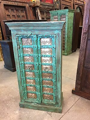 Antique Armoire Moroccan Carved Brass Patina Green Storage Vintage Cabinet
