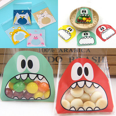100x Cute Little Monster Candy Cookie Bags Self-adhesive Plastic Package Supply