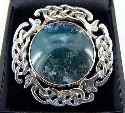 Antique Agate Made in Scotland Handmade Celtic Woven Knot Dragons Pin 15.2 Grams