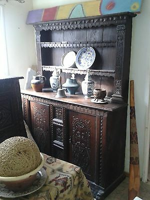 Antique   large carved oak  dresser 17th/ 18th century