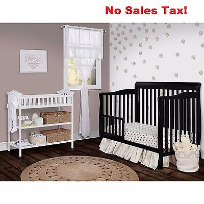 Convertible Crib 5-in-1 Baby Nursery Toddler Bed Daybed Full Size Boys Girls New