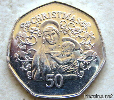 Gibraltar 2005 50 Pence Christmas, Mary With Child, Bu