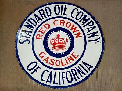 "Porcelain RED CROWN GASOLINE Enamel Sign Size 42"" ROUND Double Sided"