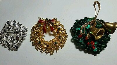 Vintage Christmas Wreath pins/brooches