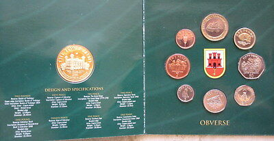 Gibraltar 2005 8 Coins + Medal Official Mint Set In Coin Cover, Unc