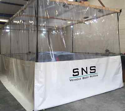 L Shape Half Clear White Dust Workshop Curtains  32Ft X 10Ft Spray Booth