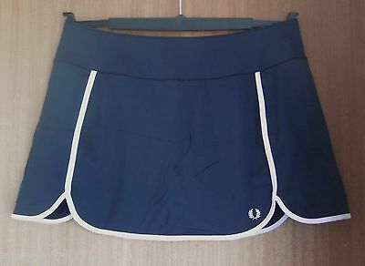 Ladies Designer Fred Perry Navy Blue Tennis Skort With Ball Pockets - Size 16