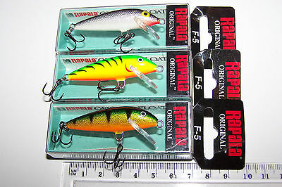 RAPALA FISHING LURES LOT OF 3,  F-5  Original Floating Minnow.  Trout, Bass, Cod