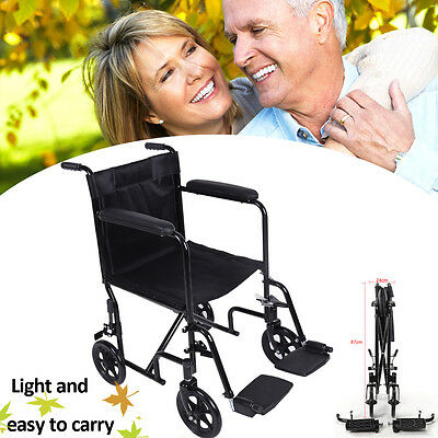 All AID Lightweight Transit Comfortable Portable Folding Travel Wheelchair With