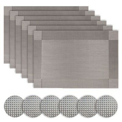 Borlans Silver Table Place Mats And Coasters Sets Of 6 Grey Stain Resistant
