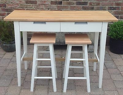 Quality Solid Oak Breakfast Bar & 2 Stools Kitchen Island With Two Drawers