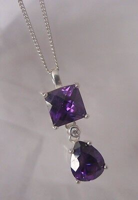 Pretty Sterling Silver Sparkly Diamond Cut Amethyst Glass Pendant Necklace 925