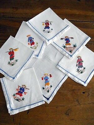 7 Antique French Cotton Chinese Personages Embroidered Napkins Placemats Runner
