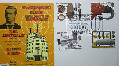 FDC 50th ANNIVERSARY BRITISH BROADCASTING CORP. 1972- 75th Ann.MARCONI/KEMP