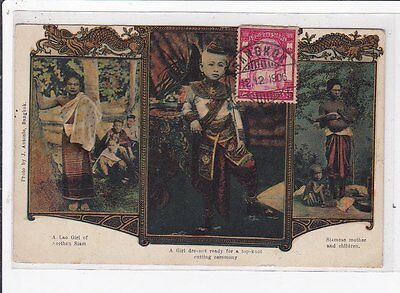 THAILAND : old postcard : a girl dessed ready for a top-knot