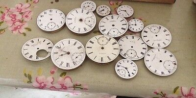 A Job Lot Of 15 Enamel Vintage Watch Faces Some Are Waltham
