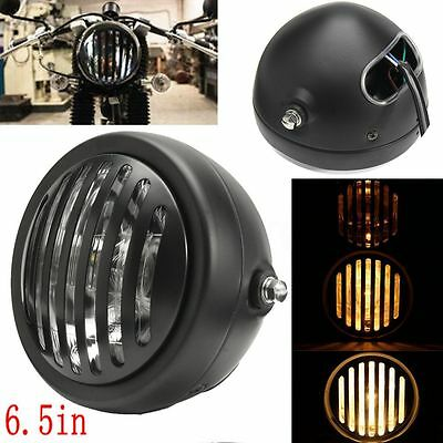 "6.5"" Grill Black Motorcycle Headlight For Harley Sportster Chopper Cafe Racer"