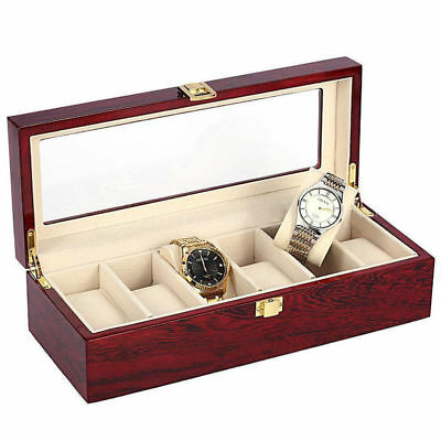 6 Slot Wooden Watch Display Case Box Wristwatch Jewelry Storage Organizer