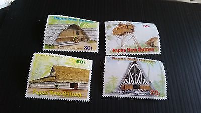 Papua New Guinea  1989 Sg 593-596 Traditional Dwellings.  Mnh