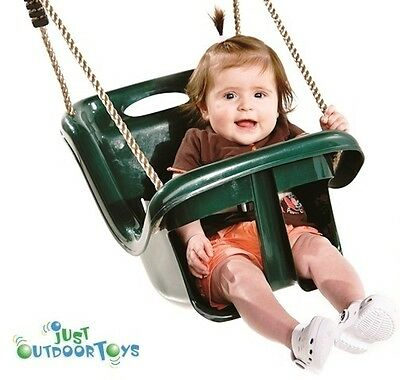Baby Swing Seat - High back for head support - Large leg openings - Green