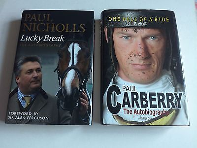 Horse Racing Autobiographys,paul Nichols And Paul Carberry One Signed,hardbacks