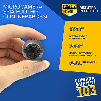 Micro Camera Spia spiare Segreta Full HD Motion Detection SOS Telecamera Spy Cam