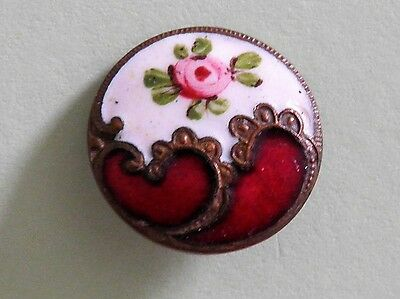 Beautiful Antique French Enamel Button 19.1mm Pink Rose on white