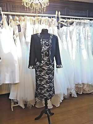 Black White Lace Occasion Mother of the Bride Dress & Jacket 14/16, 16