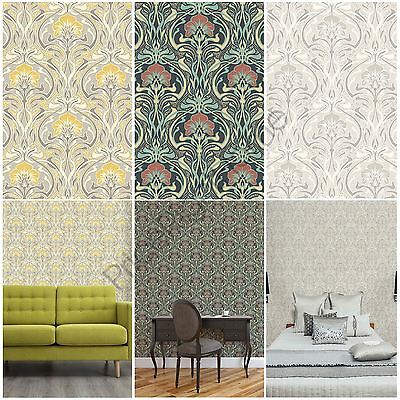 Crown Archives Flora Nouveau Wallpaper Green, Yellow & Natural Wall Decor New