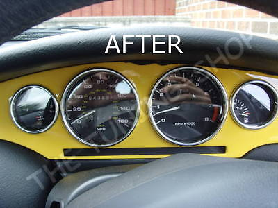For Fiat Coupe 20V Turbo Chrome Dial & Heater Rings Surrounds Set Real Aluminium