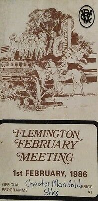 Flemington 1986 Chester Manifold Stakes Racebook Race Book Horse Racing