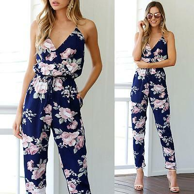 Women Backless Jumpsuit Sleeveless V-Neck Floral Playsuit Party Trousers UKBC