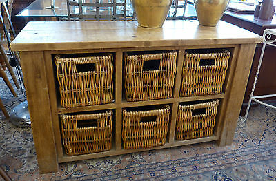 Solid Reclaimed Wood Sideboard Unit with Basket Storgage