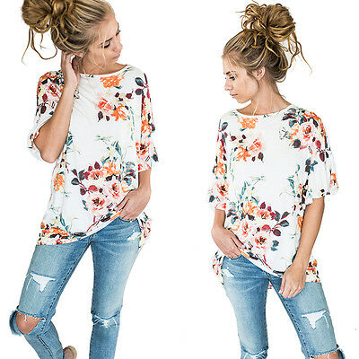 New Printed T-Shirts Summer Floral Casual Short Sleeve Women O-Neck