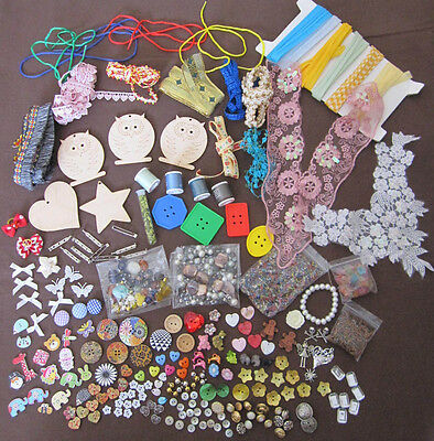 Craft Clearout. Buttons, Braid Wooden Owls, Beads, Appliques (C3)