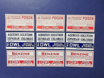 9+Old Owl Drug Pharmacy-Apothecary-Medicine Bottle Labels=  Lot=Nice