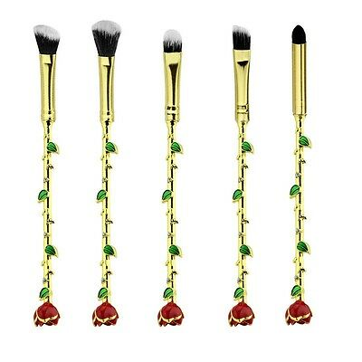 Beauty and The Beast Enchanted Rose Makeup Brushes Set Of 5 - High Quality - UK
