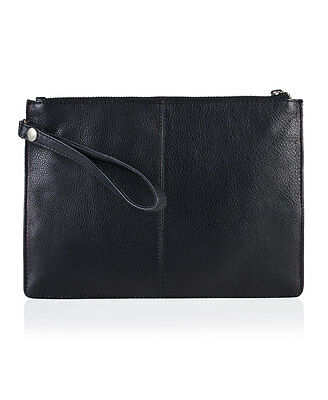 New Womens Superdry The North Clutch Bag BLACK LEATHER