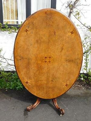 A GOOD 19thC ANTIQUE INLAID WALNUT BREAKFAST CENTRE OR GAMES TABLE